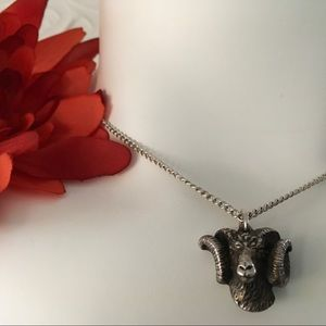 Vintage Pewter Ram's Head Necklace